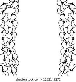 White Lily of the Valley Outline Border. Vector Illustration.