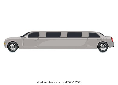 White limousine, vector illustration