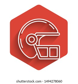 White line American football helmet icon isolated with long shadow. Red hexagon button. Vector Illustration
