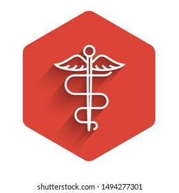White line Caduceus snake medical symbol icon isolated with long shadow. Medicine and health care. Emblem for drugstore or medicine, pharmacy. Red hexagon button. Vector Illustration