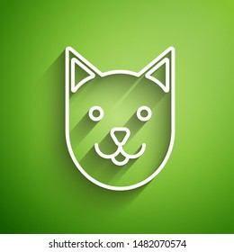 White line Cat icon isolated on green background.  Vector Illustration
