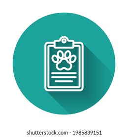 White line Clipboard with medical clinical record pet icon isolated with long shadow background. Health insurance form. Medical check marks report. Green circle button. Vector