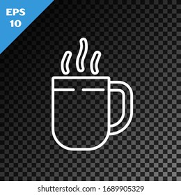 White line Coffee cup icon isolated on transparent dark background. Tea cup. Hot drink coffee.  Vector Illustration