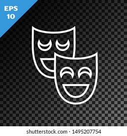 White line Comedy theatrical masks icon isolated on transparent dark background.  Vector Illustration