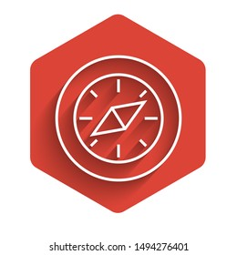 White line Compass icon isolated with long shadow. Windrose navigation symbol. Wind rose sign. Red hexagon button. Vector Illustration