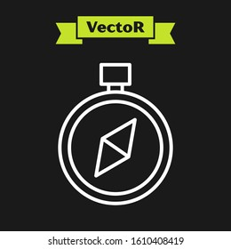 White line Compass icon isolated on black background. Windrose navigation symbol. Wind rose sign.  Vector Illustration