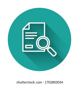 White line Document with search icon isolated with long shadow. File and magnifying glass icon. Analytics research sign. Green circle button. Vector Illustration