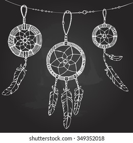 white line dreamcatcher, hand drawn vector boho ethnic illustration, chalk background