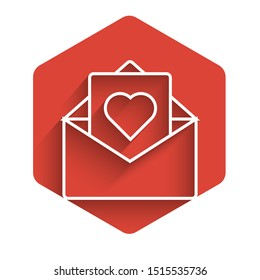 White line Envelope with Valentine heart icon isolated with long shadow. Message love. Letter love and romance. Red hexagon button. Vector Illustration