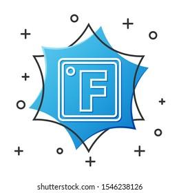 White line Fahrenheit icon isolated on white background. Blue hexagon button. Vector Illustration