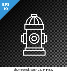 White line Fire hydrant icon isolated on transparent dark background. Vector Illustration