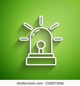 White line Flasher siren icon isolated on green background. Emergency flashing siren.  Vector Illustration