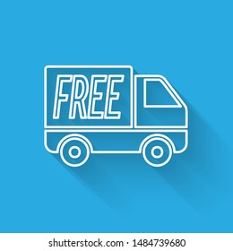 White line Free delivery service icon isolated with long shadow. Free shipping. 24 hour and fast delivery.  Vector Illustration