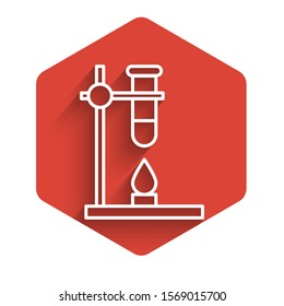 White line Glass test tube flask on fire heater experiment icon isolated with long shadow. Laboratory equipment. Red hexagon button. Vector Illustration