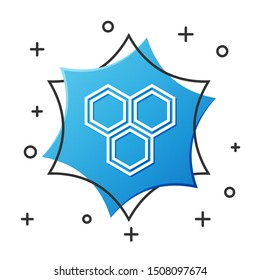 White line Honeycomb icon isolated on white background. Honey cells symbol. Sweet natural food. Blue hexagon button. Vector Illustration