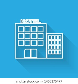 White line Hotel building icon isolated with long shadow.  Vector Illustration