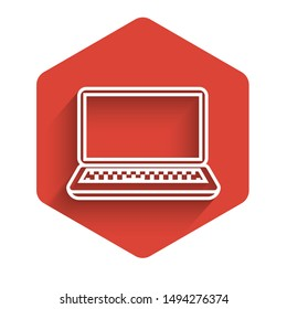 White line Laptop icon isolated with long shadow. Computer notebook with empty screen sign. Red hexagon button. Vector Illustration