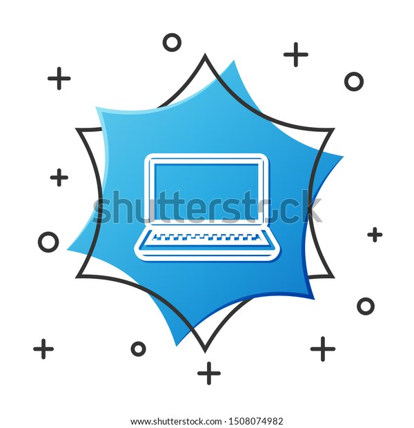 White line Laptop icon isolated on white background. Computer notebook with empty screen sign. Blue hexagon button. Vector Illustration