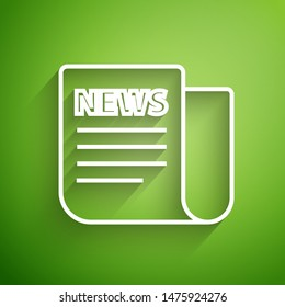 White line News icon isolated on green background. Newspaper sign. Mass media symbol.  Vector Illustration
