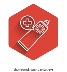 White line Ointment cream tube medicine icon isolated with long shadow. Tube, container, toothpaste, cream sign. Red hexagon button. Vector Illustration