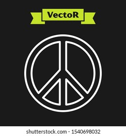 White line Peace icon isolated on black background. Hippie symbol of peace.  Vector Illustration