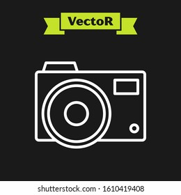 White line Photo camera icon isolated on black background. Foto camera icon.  Vector Illustration