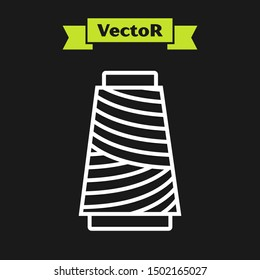 White line Sewing thread on spool icon isolated on black background. Yarn spool. Thread bobbin.  Vector Illustration