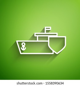 White line Ship with shield icon isolated on green background. Insurance concept. Security, safety, protection, protect concept.  Vector Illustration