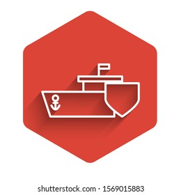 White line Ship with shield icon isolated with long shadow. Insurance concept. Security, safety, protection, protect concept. Red hexagon button. Vector Illustration