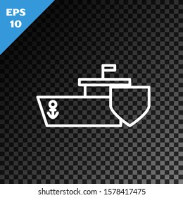 White line Ship with shield icon isolated on transparent dark background. Insurance concept. Security, safety, protection, protect concept.  Vector Illustration