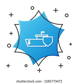 White line Ship with shield icon isolated on white background. Insurance concept. Security, safety, protection, protect concept. Blue hexagon button. Vector Illustration