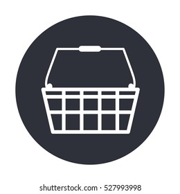 White line shopping basket vector icon