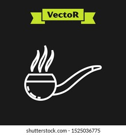 White line Smoking pipe with smoke icon isolated on black background. Tobacco pipe.  Vector Illustration