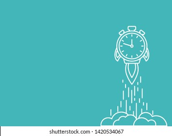 white line stopwatch rocket ship with fire and clouds. Fast time stop watch, limited offer, deadline symbol. Vector illustration on blue. Time to work. Countdown shuttle