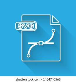 White line SVG file document. Download svg button icon isolated with long shadow. SVG file symbol.  Vector Illustration