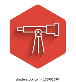 White line Telescope icon isolated with long shadow. Scientific tool. Education and astronomy element, spyglass and study stars. Red hexagon button. Vector Illustration