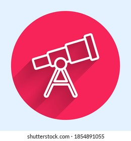 White line Telescope icon isolated with long shadow. Scientific tool. Education and astronomy element, spyglass and study stars. Red circle button. Vector