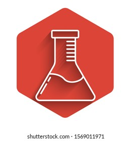 White line Test tube and flask chemical laboratory test icon isolated with long shadow. Laboratory glassware sign. Red hexagon button. Vector Illustration
