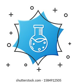 White line Test tube and flask chemical laboratory test icon isolated on white background. Laboratory glassware sign. Blue hexagon button. Vector Illustration