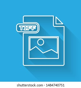 White line TIFF file document. Download tiff button icon isolated with long shadow. TIFF file symbol.  Vector Illustration