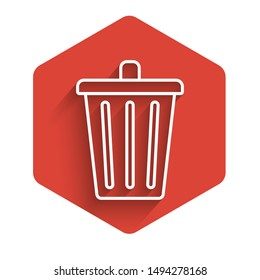 White line Trash can icon isolated with long shadow. Garbage bin sign. Recycle basket icon. Office trash icon. Red hexagon button. Vector Illustration