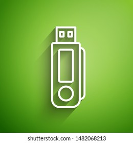 White line USB flash drive icon isolated on green background.  Vector Illustration