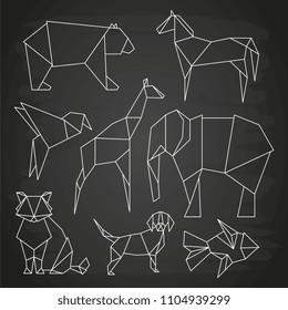 White line vector polygonal wild animals, fish and bird on blackboard. Linear dog and bear, elephant and giraffe illustration