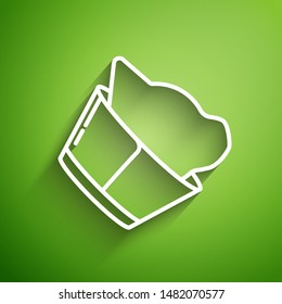 White line Veterinary clinic symbol icon isolated on green background. Cat veterinary care. Pet First Aid sign.  Vector Illustration
