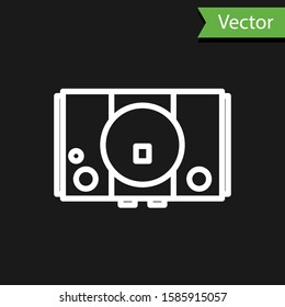 White line Video game console icon isolated on black background.  Vector Illustration