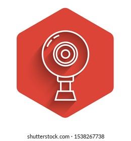 White line Web camera icon isolated with long shadow. Chat camera. Webcam icon. Red hexagon button. Vector Illustration