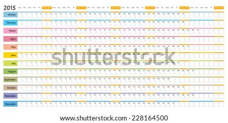 color coded calendar template - white linear calendar 2015 days week stock vector royalty