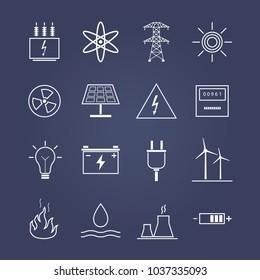 White linear energy icons. Dark violet  background. Vector illustration.