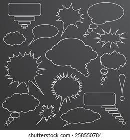White linear speech bubbles set over grey background. Vector illustration.