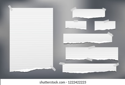 White lined note, notebook paper strips with torn edges stuck on grey background. Vector illustration.